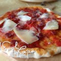 Home made Pizza with salami & Italian pecorino cheese.