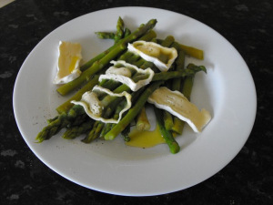 asparagus served with cheese