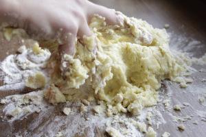 preparation of homemade potato gnocchi.