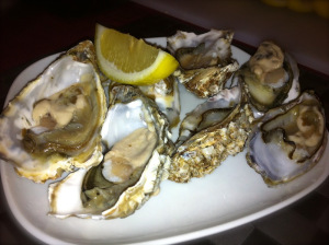 oysters served with lemon