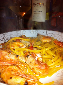 serve jumbo prawns and linguine with a glass of white wine