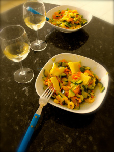 serve courgette and prawns in large bowls