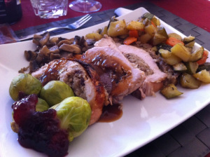 tree birds served with brussels sprouts and roasted vegetables