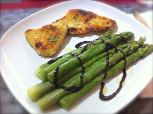 add balsamic vinegar on the asparagus