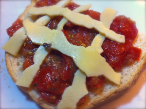 cheese and tomato bruschetta