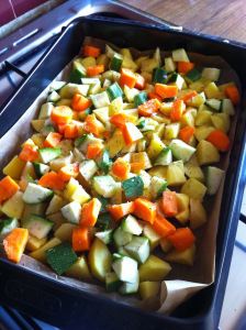 cut vegetables and add some oil, then mix well the veg