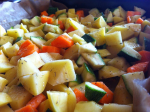 add oil and herbs to the vegetables