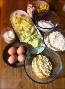 ingredients for apple almonds and chocolate chips cake