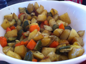 roasted veg served in a large bowl