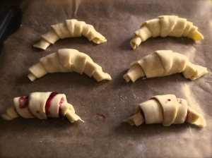savoury croissants ready to bake