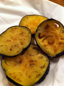 fried aubergines are tender