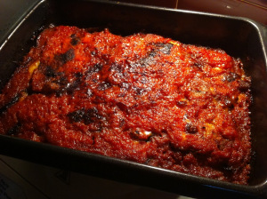 baked aubergines are cooked
