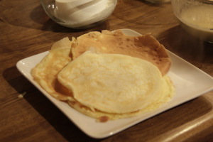 Crepes are cooked  when golden