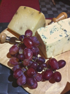 Cheeses and red grapes as second main course