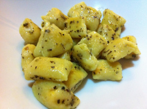 Gnocchi served with sages and butter