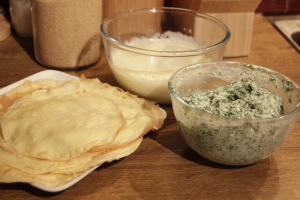 Crepes, the filling and bechamel sauce
