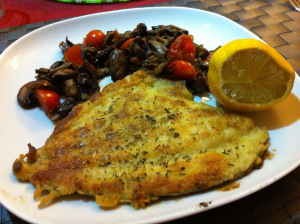 Batter Plaice served with mushrooms