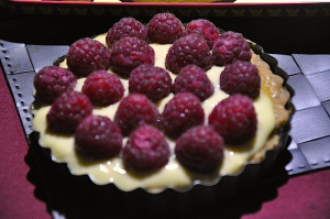 one of two mini Raspberries Tarts