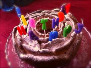 Yogurt cake with candles