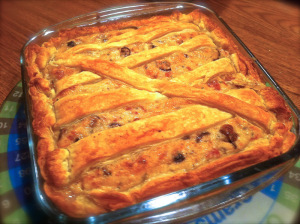 puffy pastry filled with bechamel, mushrooms and ham served warm