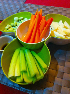 Dip with carrots and celery and broad beans
