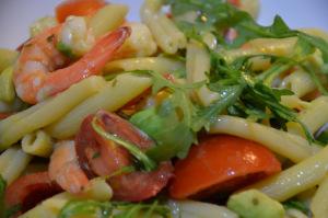 prawn and avocado pasta salad dressed with vinaigrette