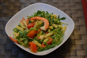 prawns and avocado salad served cool