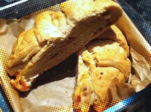 Tortano bread cut in a half