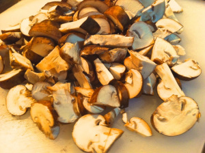 wash and cut the mushrooms
