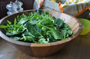 leaves and rocket in a salad bowl