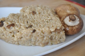Served mushroom risotto