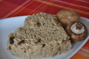 Heart shaped Mushroom risotto served warm