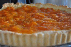 tart filled with homemade apricot jam