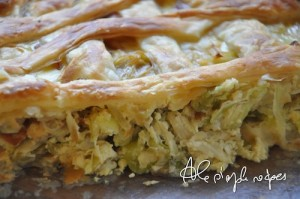 Inside of Artichokes, Leek, and Pecorino cheese Quiche
