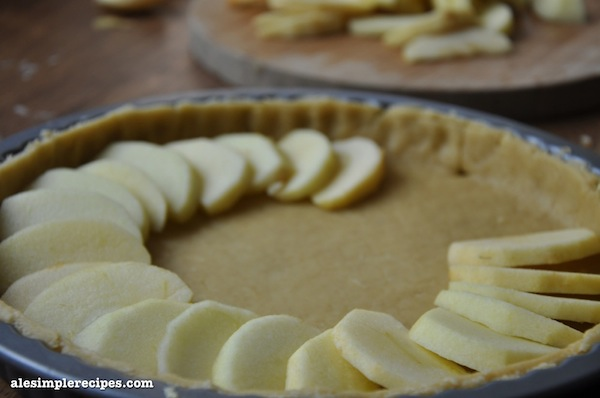 Lay the apple slices on top of the pastry