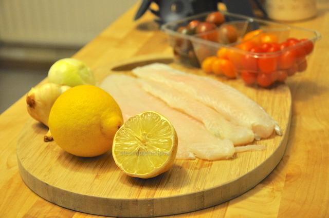 Ingredients for white fish linguine with lemon cream