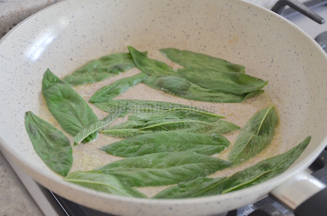 Fry the sage in pan